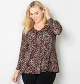 Avenue Tribal Geo Grommet V-Neck Top
