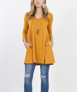 Ash Lydiane Women's Tunics  Mustard V-Neck Three-Quarter Sleeve Pocket Tunic - Women & Plus