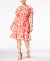 Jessica Howard Plus Size Floral-Print Pintucked Dress