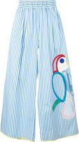Mira Mikati embroidered wide-leg trousers - women - Cotton/Spandex/Elastane - 36