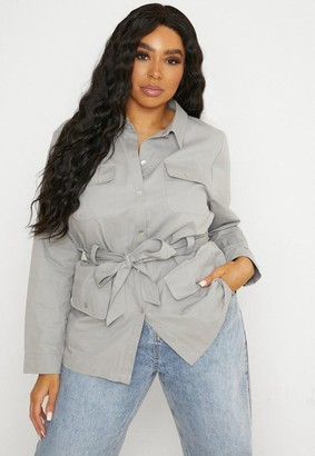 Missguided Plus Size Gray Utility Belted Jacket
