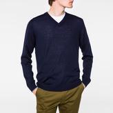 Paul Smith Men's Navy V-Neck Merino-Wool Sweater
