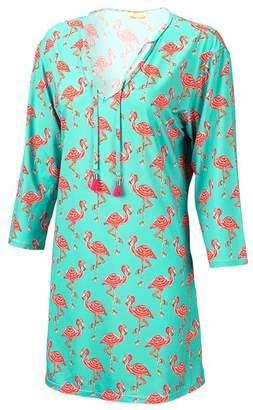 Flamingos Viv&Lou Women's Tunics - Aqua & Pink V-Neck Tunic - Women & Plus