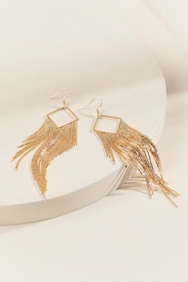 francesca's Lucia Square Metal Tassel Earrings - Gold