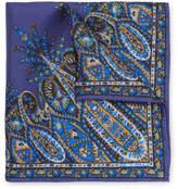 Etro Paisley-print Silk-twill Pocket Square - Blue
