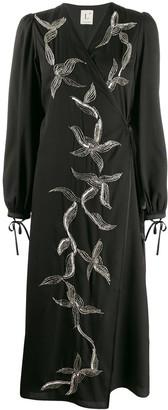 L'Autre Chose Abito beaded satin wrap dress