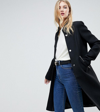 Asos Tall DESIGN Tall smart funnel neck coat with contrast trim-Black