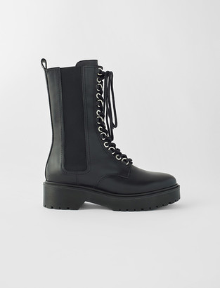 Maje Black leather high-heeled boots