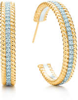 Tiffany & Co. Schlumberger Rope two-row hoop earrings with diamonds, medium.