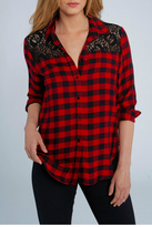 Elliott Lauren Plaid & Lace Shirt