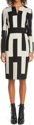 Akris Mosaique Print Long Sleeve Double Face Wool Blend Sheath Dress