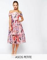 Asos SALON Floral Bardot Organza Midi