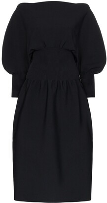 Bottega Veneta Pouf Sleeve Flared Midi Dress