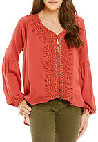 O'Neill Dylan Crochet Peasant Blouse