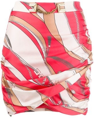 Elisabetta Franchi Fitted Chain-Print Silk Skirt