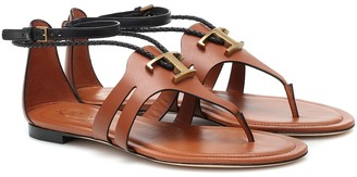 Tod's T leather thong sandals