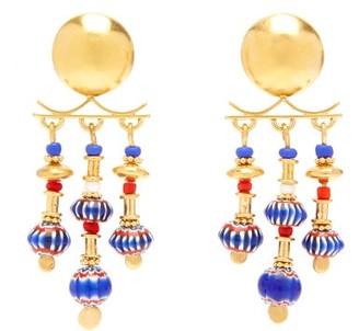 Katerina Makriyianni - Glass-bead Gold-vermeil Chandelier Earrings - Multi