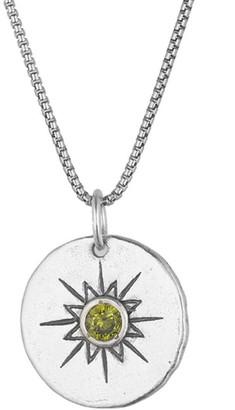 Or Paz Sterling Sunburst Crystal Birthstone Pendant w/ Chain