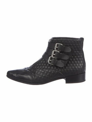 Tabitha Simmons Quilted Pattern Leather Boots Black