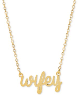 Sarah Chloe Wifey Adjustable Pendant Necklace in 14k Gold-Plated Sterling Silver