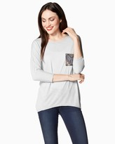 Charming charlie Tribal Embroidered Pocket Tee