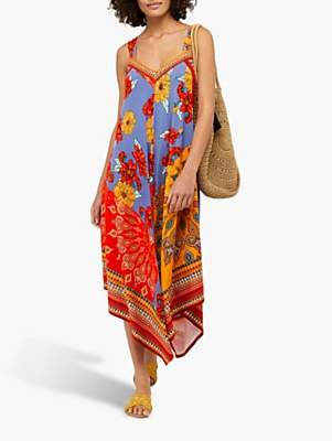 Monsoon Jolene Jersey Scarf Print Maxi Dress, Orange/Multi