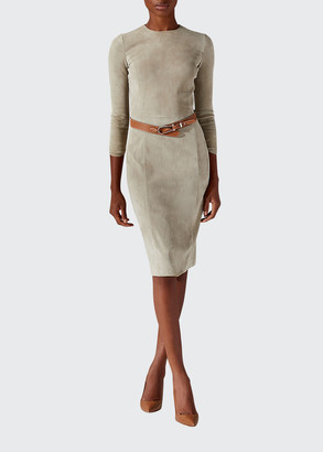 Ralph Lauren Collection Kimberly Suede 3/4-Sleeve Sheath Dress