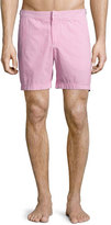 Orlebar Brown Bulldog Seersucker Swim Trunks, Pink