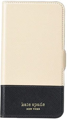 Kate Spade Spencer Magnetic Folio for iPhone(r) 11 Pro Max (Warm Beige/Black) Cell Phone Case