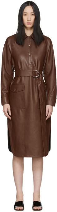 Tibi Brown Faux-Leather Shirt Dress