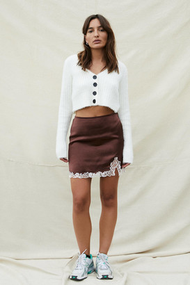 Urban Outfitters Lace Insert Brown Satin Mini Skirt