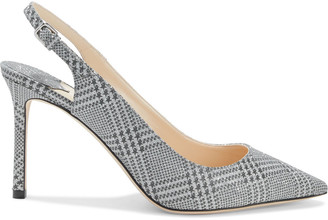 Jimmy Choo Erin 65 Glittered Prince Of Wales Checked Leather Slingback Pumps