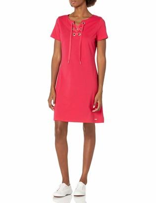 Calvin Klein Women's Short Sleeve T-Shirt Dress with Lace Up Neckline