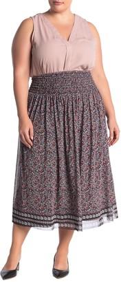 Max Studio Floral Print Mesh Maxi Skirt (Plus Size)