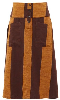 Ace&Jig Maisie Patch-pocket Striped Cotton Midi Skirt - Womens - Brown Multi