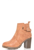 Quiz Tan Buckle Tread Sole Ankle Boots