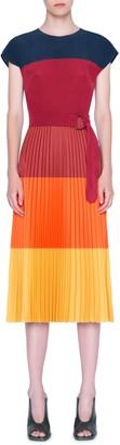 Akris Punto Colorblock Stripe Pleated Midi Dress