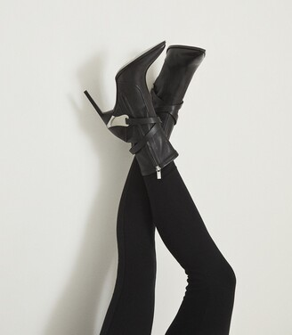 Reiss Hayworth High - Leather Point-toe Boots in Black