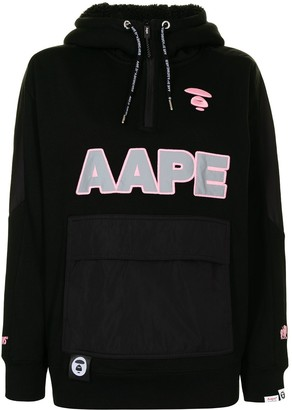 AAPE BY *A BATHING APE® Logo-Embroidered Zip-Up Hoodie