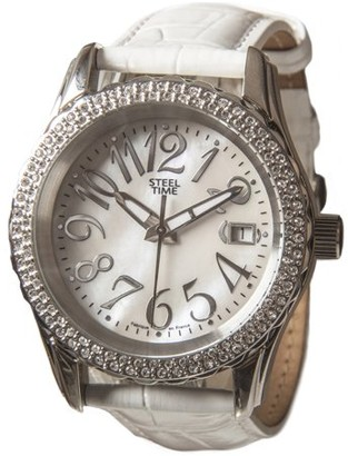 STEELTIME Steel Time stf030StarLadies WatchAnalogue QuartzMother of Pearl DialWhite Leather Bracelet