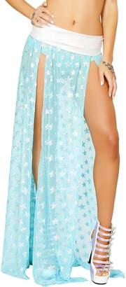 J Valentine Women's Long Sequin Star Mesh Skirt