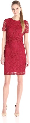 Marina Women's Short Pop-Over Pretzel Lace Dress with Sleeves and Back Buttons