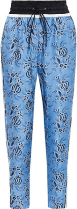 3.1 Phillip Lim Cropped Striped Floral-print Silk-twill Tapered Pants