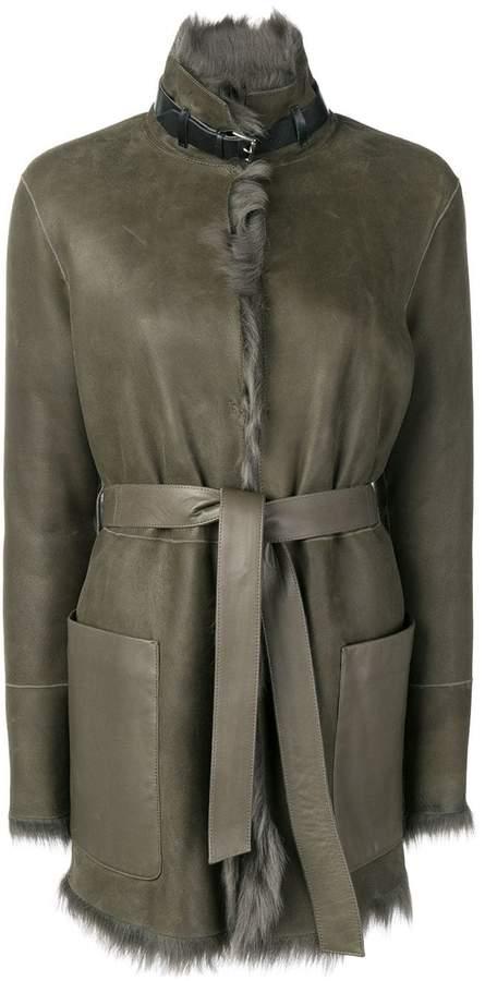Belstaff fur lined belted coat