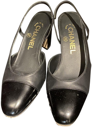 Chanel Slingback Black Leather Heels