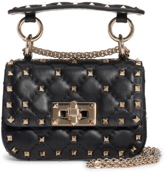 Valentino Garavani Micro Spike It Rockstud Lambskin Leather Top Handle Bag