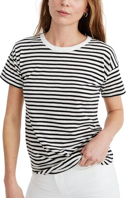 Madewell Bridgewater Stripe Whisper Cotton Ribbed Crewneck T-Shirt