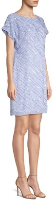 Aidan Mattox Cap Sleeve Embellished Shift Dress