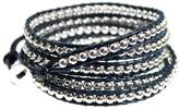 "Beautiful Silver Jewelry 39"" Indigo Midnight Blue Leather Silvertone Bead Adjustable Cuff 5x Wrap Bracelet"