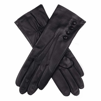 Dents Natalie Women's Silk Lined Touchscreen Leather Gloves BLACK 6.5